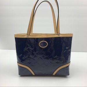 Coach Navy patent mini tote with leather trim